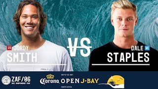 Jordy Smith faces off against Dale Staples in Round Two, Heat 1 at the 2017 Corona Open J-Bay. #WSL #jbay Subscribe to the WSL for more action: ...