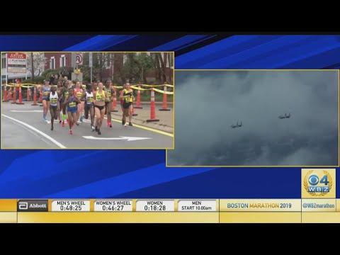 Split Screen: Boston Marathon Elite Women & F-15 Flyover