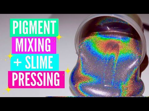 Mixing Pigment into Slime// holographic, duochrome  Satisfying Slime ASMR Video Compilation