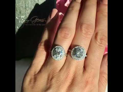 2.25 ctw OVAL vs 2.5 ROUND double halo ring