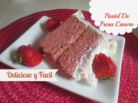 Pastel De Fresa Casero Riquisimo y Facil !