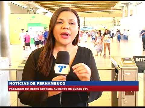 [BRASIL URGENTE PE] Passagem do Metrô sofrerá aumento de quase 90%