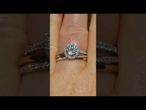 Tri-Color Rolling Ring with Moissanite Diamond Halo Engagement Ring, Wedding Set