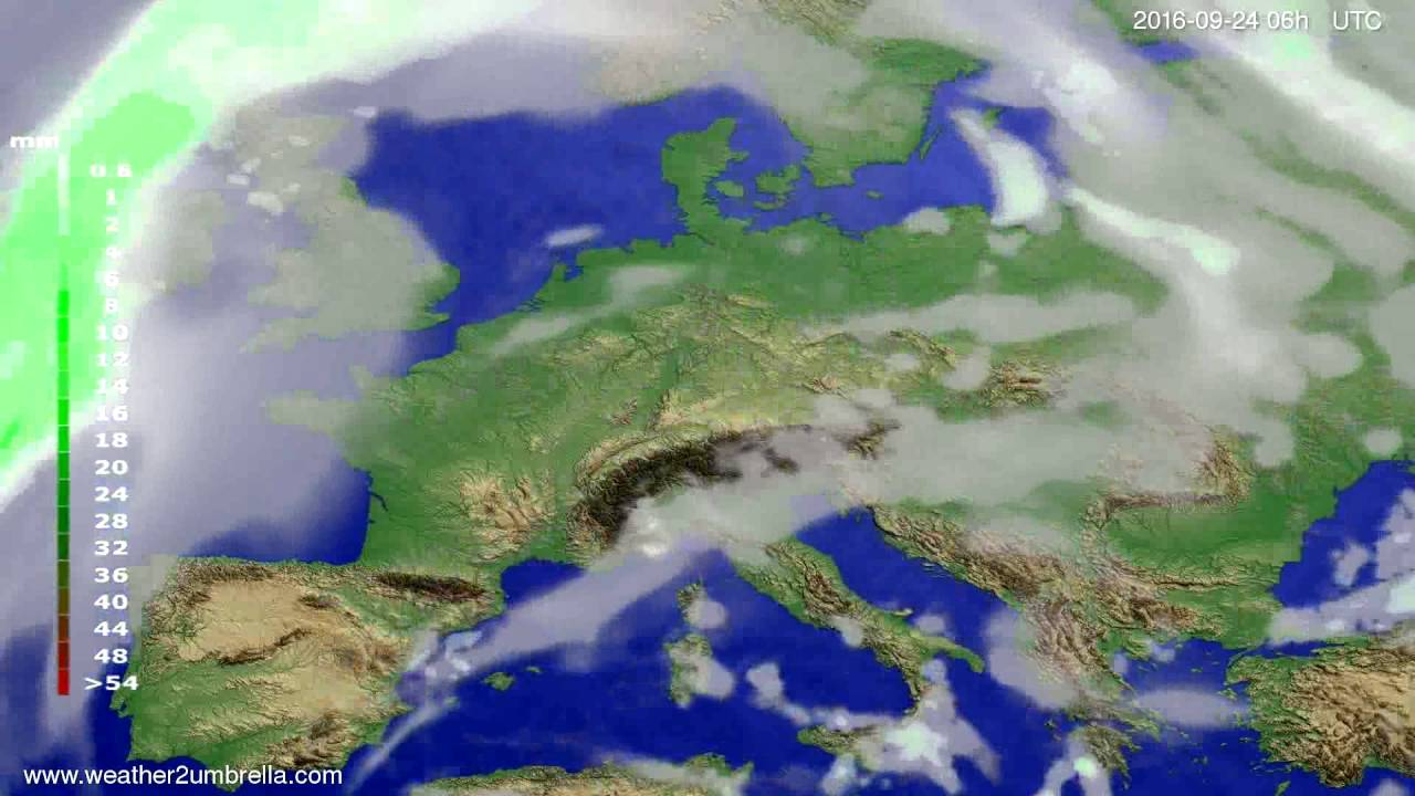 Precipitation forecast Europe 2016-09-21