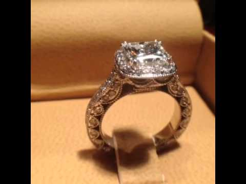 Vintage Inspired Princess Cut Halo Engagement Ring