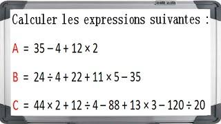 Maths 5ème - Les enchaînements d'opérations Exercice 4