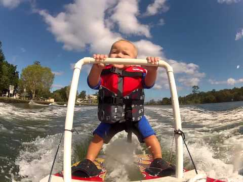 Baby Waterskis Like a Boss!