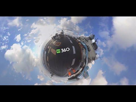 Панорамное видео взлета Су-33 ВКСРФ спалубы тяжелого авианесущего крейсера «Адмирал Кузнецов»