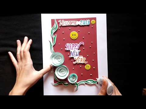 New Year Greeting Card 2018 || Card idea for New Year Wishing || easy making