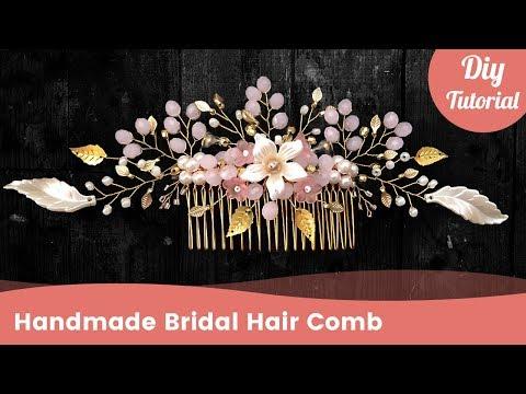 DIY Golden Bridal Hair Comb Tutorial. Wedding Hair Accessories.
