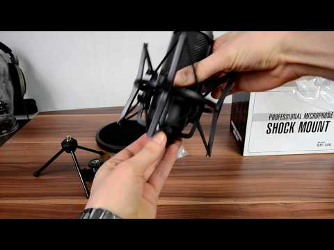 Microphone Shock Mount with pop filter unboxing & installation (видео)
