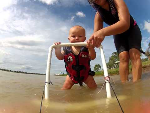 WATCH: 8 month year old baby goes water skiing!