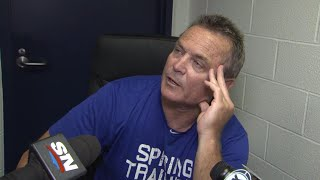 John Gibbons talks with reporters about a disappointing end to a tough July road trip for the Toronto Blue Jays.