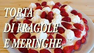 Golosissima torta a strati, farcita con chantilly e decorata con fragole e meringhe.Ingredienti per la base:3 uova + 2 albumi (i tuorli serviranno per la crema)120g di zucchero500g di farina1 bustina di vanillinaPer la farcitura:2 tuorli4 cucchiai di zucchero4 cucchiai di farina125ml di latte200ml di panna per dolci500g di fragole medie15 piccole meringhe