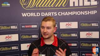 "Dimitri van den Bergh on reaching World Championship Last 16: ""I feel lucky to be through"""