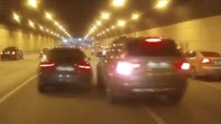 Fast Audi And BMW Accident In A Road Tunnel