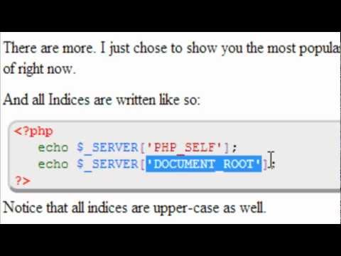 Advanced PHP Tutorial  |  Server Super Global Variables