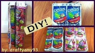 DIY Caprisun Book Cover & Pencil Pouch (Back to School) - YouTube