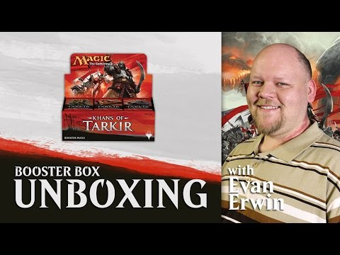 box - We've got a hot new booster box of Khans of Tarkir today! Find out what's in the box with Evan Erwin from The Magic Show! Subscribe to us for more Magic content: http://www.youtube.com/subscriptio...
