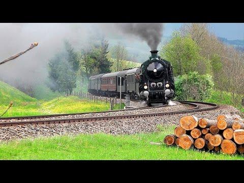 Bayerische S 3/6 auf der Allgäubahn - Bavarian steam train (видео)