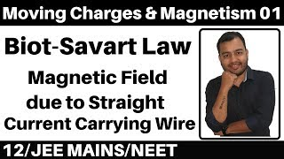Moving Charges and Magnetism 01 : Biot-Savart  Law : Magnetic Field due to Straight Wire JEE/NEET