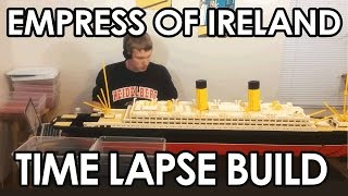 """Time lapse of me building a six foot long model of the RMS Empress of Ireland out of LEGOSINKING VIDEO IN ~JUNE, STILL EARLY SPRING (づ。◕‿‿◕。)づ (づ。◕‿‿◕。)づ (づ。◕‿‿◕。)づ (づ。◕‿‿◕。)This model is 6'2"""" long and weighs 23 pounds.  Over 5,000 bricks were used to make this model.  It is 246 LEGO studs long and 28 studs wide. This ocean liner sank in 1914 in the Saint Lawrence River after the coal carrying ship, the SS Storstad, rammed into the Empress's starboard side of the hull roughly around midship.  The Empress was immediately awashed with seawater, and quickly developed an extreme starboard list.  Aided by open portholes and watertight doors that had to be manually closed, the ship foundered in roughly only fifteen minutes, taking with her 1,012 of the 1477 souls aboard.3D LDD Model at: www.hagermanships.comMy Bricklink Store: https://store.bricklink.com/JHAGERMAN"""