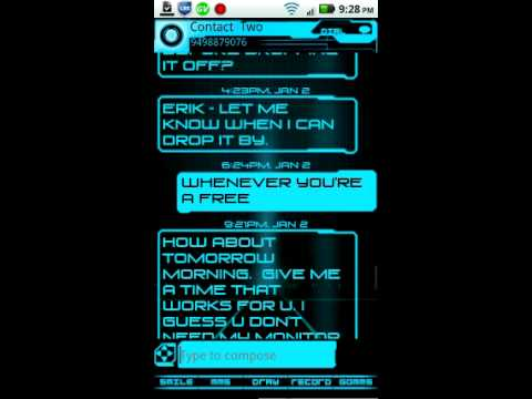 Video of Legacy Neon Go SMS Pro Theme