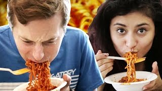 People Try The Fire Noodle Challenge