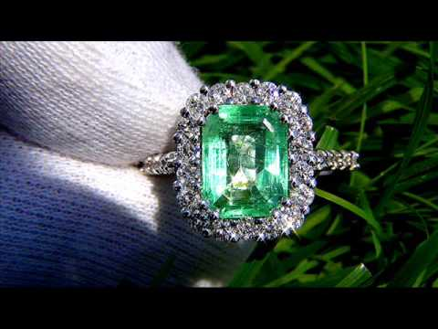 NATURAL GREEN EMERALD AND DIAMOND COCKTAIL RING SIZE 7 14K WHITE GOLD ESTATE