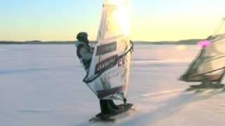 Winter Windsurfing On Ice