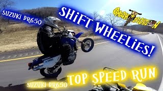 1. 2006 Suzuki DR650 supermoto shift wheelies and top speed run