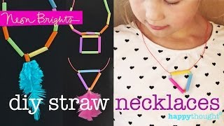 How to make 2 DIY necklaces using drinking straws: triangle and square designs - YouTube