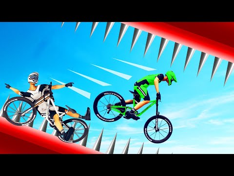 1000 SPIKES vs. JELLY On A BIKE! (Descenders Wipeout)