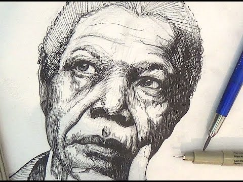 Pen And Ink Drawing Tutorials | Nelson Mandela Portrait Drawing Demonstration