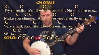 Within You Without You (Beatles) Banjo Cover Lesson in C with Chords/Lyrics