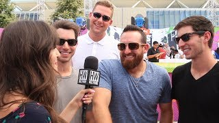 """Subscribe to Hollywire for The Latest Pop and Music News Updates!  http://bit.ly/Sub2HotMinuteWe ran into the guys from """"Dude Perfect"""" at the """"Kids Choice Sports"""" orange carpet where they talked to us all about their insane new stunt as well as their upcoming show on Nickelodeon.Visit our website for all things celebrity  http://www.hollywire.com/Follow Hollywire!  http://bit.ly/TweetHollywireSend Carly a Tweet!  https://twitter.com/carlyhenderson_Follow Carly on Instagram!  https://www.instagram.com/carlyhenderson_/?hl=en"""