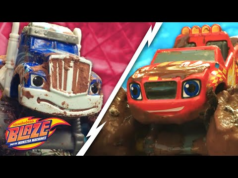 Blaze vs. Crusher in EPIC Monster Machine Mudfest! | Blaze and the Monster Machines
