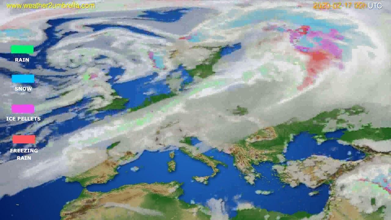 Precipitation forecast Europe // modelrun: 00h UTC 2020-02-16