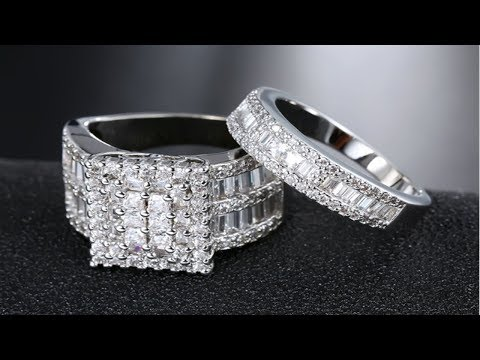 Luxury Victoria Wedding Rings Set for Women White Square Cubic Zirconia Big Band Silver Color Ring