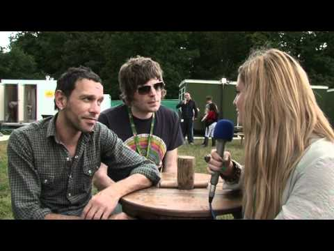Shed Seven fresh off stage chatting with V Festival's Ellie at Weston Park