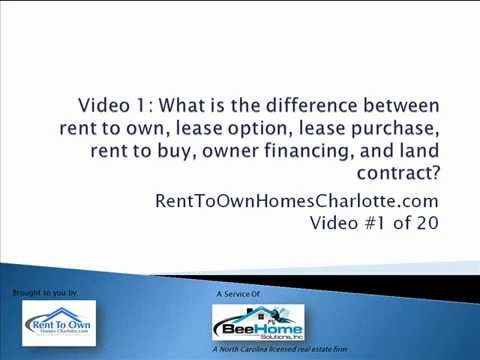 Video 1: Rent To Own Homes Charlotte NC - Difference between Rent to Own & Lease Option Charlotte NC