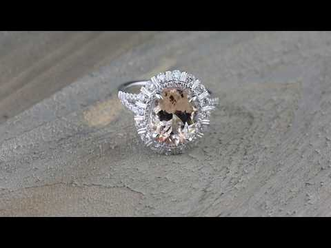 Oval Morganite 18kt White Gold Halo Diamond Ring