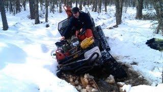 5. ATV Winching with two Warn 3.0ci Wireless Remote Control. Polaris 6x6 800 Big Boss stuck swamp/mud