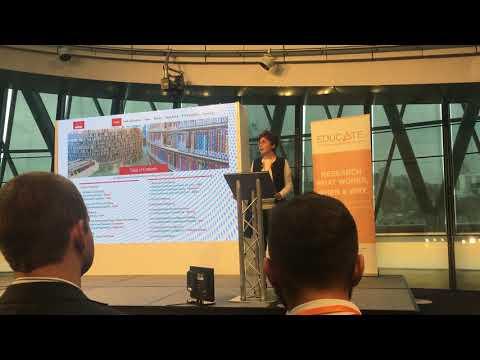 Nukhet Vardar explaining Brands Whisper'g at EDUCATE's Show&Tell heldi at the City Hall in London on November 26, 2018