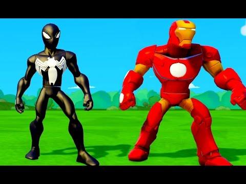 Gioco per i bambini spider-man nero e iron-man nel mondo Disney