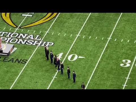 Donald Trump and national anthem at LSU-Clemson college football championship