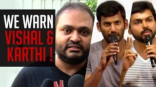 "SSR Kannan – ""WE warn VISHAL & KARTHI !"" Kollywood News 09/10/2015 Tamil Cinema Online"