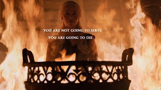 Daenerys kills all the Khal's alive and then walks from the burning temple to have all the Dothraki bow before her.