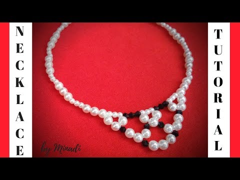 10 minutes DIY necklace. Black and white necklace.  Necklace making tutorial.