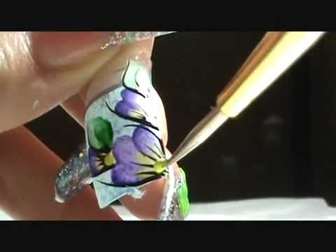 Dise~o a Mano Alzada *_* ( one stroke step by step ) Nails design